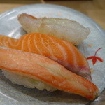 回転さかなや寿司・魚忠  - 2015.01 北海三昧、カニ身、サーモン、ボタンエビ、520円、173円/1貫