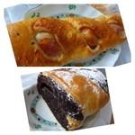 パン工場 - ベーコンバジルフランス(180円)・・ソフトフランスですので食べやすいですね。バジルの風味もいい品です。 下:チョコの王様(265円)・・ボリュームあるパンです。見た目ほど甘くないので食べやすい。