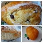 パン工場 - 上:シュガーレーズン(価格失念)・・定番の品ですね。噛みごたえのいい生地ですよ。 下左:ソフトフランス(300円程度だったような) 下右:伊都カレーパン(180円