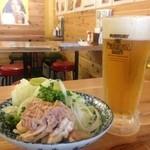 串屋横丁  - 生ビールに、新鮮酢もつ。バツグンにあいますよ。