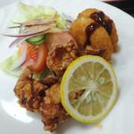 松月食堂 - 「日替定食」鶏から揚げ&コロッケ