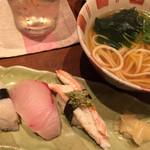 酒肴家 - にぎり寿司3種(鮑、シマアジ、かに)、半田そうめんのにゅうめん