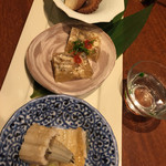 酒肴家 - 酒肴3種(煮穴子、にこごり、イイダコ煮)