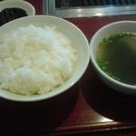 焼肉松光苑 - 料理写真:ランチのカルビ定食(900円)・ライスとスープ