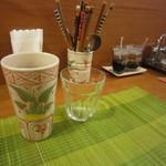 花果 - プーアル茶HOTと、調味料♪