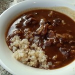 34688032 - コクのある牛スジ煮込みのカレーをお汁状態で盛り付け ご飯は雑穀米を選択