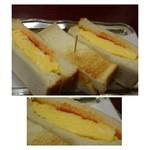 黒猫屋珈琲店 - 玉子サンド・・玉子はフワフワです。パンにはケチャップもぬられ美味しい玉子サンドですね。