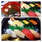 三郎寿司 - 中にぎり(1700円:税込)・・カンパチ・鮪・烏賊・鯛・とびっこ・雲丹・海老・タコなど。 シャリは普通より少し大きめでしょうか。