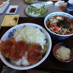 たつみ庵 - ソースひれかつ丼セット(温うどん)1180円