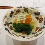 34744642 - 先付 白魚 いくら 菜の花 ブロッコリー豆腐 美味出汁.