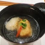 34744648 - 椀物(薄葛 仕立て) 焼き甘鯛 百合根饅頭(海老、銀杏) 一文字野菜 柚子