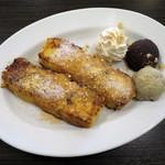 ボンボンカフェ - 小倉フレンチトースト+きな粉アイス(\410+\160、2014年12月)