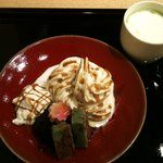 京乃とうふや 藤野 - よもぎ麩の京風抹茶プレート&豆乳抹茶オーレ