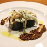 AU GAMIN DE TOKIO - 焼き茄子のなめろう仕立て 炙りイカの胡桃ソース (2015/01)