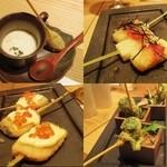 串揚げ 吟音 - クラムチャウダー、明太子餅、サーモン、菜の花