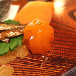 瓢亭 - 八寸(金柑の蜜煮) (2015/01)
