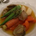 ビストロ クール - 地野菜のコンソメ煮 砂肝のコンフィ添え(¥1,200)