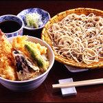 吉祥庵 - 海老天丼とおそばのランチセット 1,180円