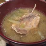 でんでんでん - 魚と野菜がたっぷり入った味噌汁2015.2撮影