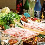 みやび邸 一蔵 - 特選塩ちゃんこ鍋(特製ラー油、柚子胡椒で)白金豚とレタスのしゃぶしゃぶ