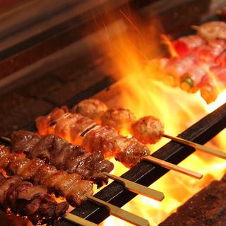 【炭火焼き鳥】鳥取県大山地鶏の備長炭串焼き
