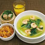 ・海老と青菜のあんかけラーメン ・豚キムチミニ炒飯