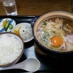 ぼっちり - 鍋焼きラーメン700円とご飯(中)200円 計900円