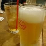 34838184 - いつものオリオンビールとサンピン茶