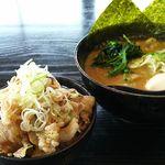 あんとん - 濃厚トンコツ醤油ラーメン&ミニスタミナ丼セット+味玉トッピング