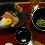 新日本料理 重内 - 料理写真:先付、お造りと食前酒