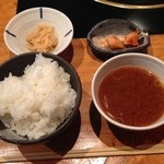 34848536 - ライス・スープ・小鉢・キムチ