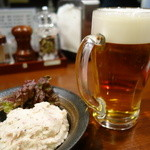 牛の家 - (2014/12月)大人のポテトサラダとエビス生ジョッキ ビール