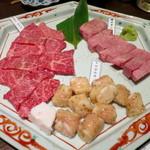 34861813 - 塩焼き盛り合わせ(霜降り上タン、松阪牛カルビ、とろホルモン)