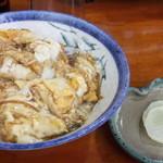 吉井十八 - かもすき焼き〆の「たまごふわふわ丼」。すき焼き後の割り下に溶き卵を入れて作るものなので、濃厚な甘辛味かと思いきや、程よい甘辛味でした!