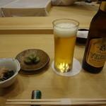 すし北野 - エビスビール