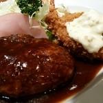 フジオ軒 - Bランチ(ハンバーグ、蟹入りコロッケ、海老フライ)
