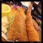 34887996 -  ✨Today's Lunch✨ミックスフライ定食\1080yen                                              えびふりゃぁ✨キスふりゃ✨ミンチカツ2個✨ポテサラ✨ご飯✨味噌汁