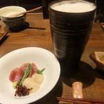 真々田 - 刺身と生ビール