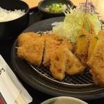 かつ屋 - 花御膳(ヒレカツ2枚、野菜3種)