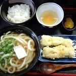 さぬき手打ち うどん屋晴れ - 平日ランチセット(ひやかけ・鯛ちくわ天・TKG)