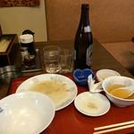 gyouzashukakouran - 食べ終わった野菜炒め定食と瓶ビール!美味しくて写真撮影を忘れた