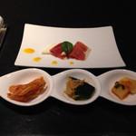 34926366 - キムチ、生ハムとモッツァレラチーズ
