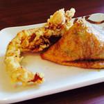 丸亀製麺 - わさびいなり130円 と、かしわ天120円