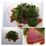 Nishimura Takahito la Cuisine creativite - 前菜・・ヨコワ鮪のカルパッチョ。カシスとマスタードのソース。