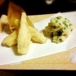 新矢旅館 - 筍の天ぷらとタチの天ぷら
