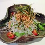 蕎麦 魯庵 - (2015.2) 水菜と揚げ蕎麦のパリパリサラダ