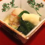 桜田 - 先付 (小鯛の笹漬け、子持昆布、筍、海老、若布のジュレがけ) (2015/01)