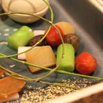 桜田 - 八寸 (金時人参、ちしゃ菜、独活の梅酢漬け、数の子、蕗の薹) (2015/01)