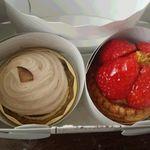 コンディトライ シュピーレン - シュピーレン モンブランとイチゴのケーキ