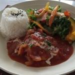 3rd フロア - チキンのトマト煮+サラダ+ライス